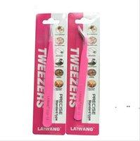 tweezer tool stainless steel 1.5MM Useful Eyelash Tweezers Curved Straight Pink Extensions Tool Style with retail package FWB11159
