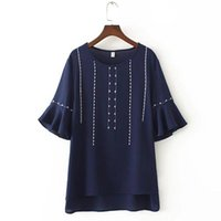 Summer Women's Clothing Shirts Round Neck Flare Sleeve Loose-Fit Habijabi Chiffon Printed Plus Size Blue Black Women Blouse Blouses &
