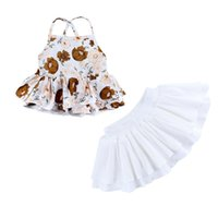 Baby Outfits Child Clothes Suit Summer Fashion Girls Suspender Skirt + White Short Skirt Baby Sleeveless Top And Skirt 2-piece Set
