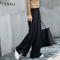 Pantalones para mujer Capris amii Minimalista Pierna de ancho Invierno Mujeres Cintura alta Split Solid Solid Femenina 11777081