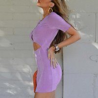 Casual Dresses Sexy Cut Out Mini Dress Summer Short Sleeve Button Bodycon Women Purple Birthday Party Night Club
