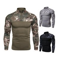Men's T-Shirts Mens Camouflage Tactical Military Clothing Combat Shirt Assault Long Sleeve Tight T Army Costume