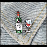 Pins, Jewelry Drop Delivery 2021 Grape Glass Wine Time Brooches Bag Clothes Lapel Button Badge Cartoon Vmsol