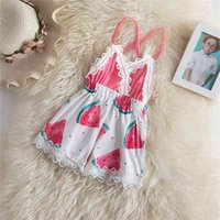 Sweet Baby Dress Summer Watermelon Print Backless Swimwear For Girls Sling Vest One-Piece Swimsuits Toddler Girl Beachwear 210429