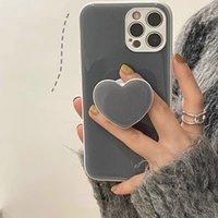 Grey Phone Case Love Bracket Designer Iphone Case For 11 12 13 Pro Max Apple IPhone Fashion Cate Bracket Dirt-resistant Cases D2110194HL