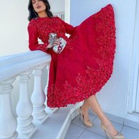 Sexy Short A-Line Prom Dresses Long Sleeves Applique Lace Beaded Knee Length Evening Dress Formal Party Second Reception Gowns