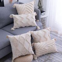 Cojín / almohada decorativa cubierta beige estilo bohemio tassels cojín estuche hecho a mano casero sofá sala de estar dormitorio decoración 45x45cm / 30x50cm