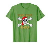 Mens Pirate First Mate Papa T-футболка череп и скрещенные кости