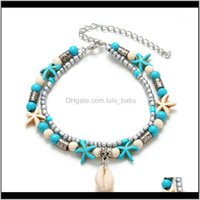 Jewelrykisswife Vintage Shell Beads Pendant Anklets For Women Multi Layer Anklet Foot Bracelet Handmade Bohemian Jewelry1 Drop Delivery 2021
