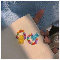 Handgemachte Schmuck Großhandel Candy Farbe Transparente Bärenring Handgemachte Reisperlen Kleine frische süße Stretch Lebensmittel Fingerring Weiblich