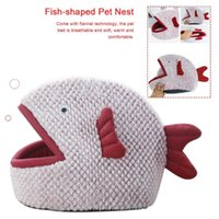 Pet Soft Bed Puppy Cat Fishshaped Cartoon Nest Mat Small Dogs For Dog Sleeping Kennel Grand Beds & Furniture