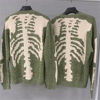 Männerpullover 20FW Hiphop Lose Kapital-Skeleton Knochendruck Pullover Männer Frau Hohe Qualität Crewneck Vintage Grüne Sweatshirts