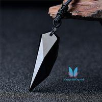 Denti del lupo nero Reiki Reiki al quarzo Pendulum Pendulo Gemstone Ciondolo di fascino Crystal