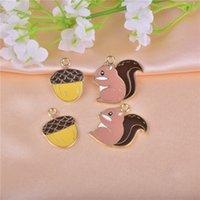 10 sztuk / paczka wiewiórki orzechy sosnowe emalia metal charms kolczyk bransoletka DIY biżuteria