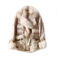 OFTBUY 2021 New Real Natural Sheep Fur Down Winter Jacket Women Double-faced Genuine Leather Warm Fashion Outerwear Streetwear