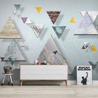 Пользовательские размеры PO по живописи современные 3D стереоскопический геометрический мраморный узор телевизор фона стены росписи обои гостиная обои