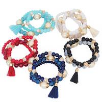 Multilayer Elastic Rope Bracelet Charm Tassel Pendant Bracelets for Women Lady Bohemian Jewelry Christmas Gift