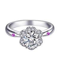 Wedding Rings Imitation Moissan Diamond Luxury Engagement Women Ring Heart & Arrow Classic Flower Six-claw Jewelry