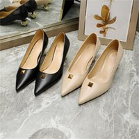 Middle Heel High Heels Dress Shoes Women Designer Sandals Letter Rivet Top Quality Valentinoes New Sexy Pointed Tacones A3