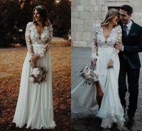 2021 레이스 Appliqued 플러스 사이즈 보헤미안 웨딩 드레스 저렴한 긴 소매 V 넥시 폰 비치 Boho Bridal Gown