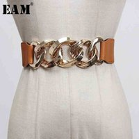 [EAM] Camel Pu Leather Metal Split Joint Elastic Wide Belt Personality Women New Fashion All-match Spring 1X048 210310