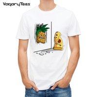 최신 재미있는 PineApplepizza 디자인 인쇄 된 티셔츠 패션 만화 맛있는 음식 티셔츠 여름 남성 참신 멋진 티셔츠 탑스 210322
