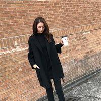 Winter Jacket Women 2021 Solid Drop-Shoulder Sleeve Belt Ladies Coats Loose Female Long For Woolen Coat Women's Wool & Blends