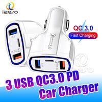 35W 자동차 충전기 유형 C 듀얼 USB 포트 QC3.0 아이폰을위한 빠른 충전 어댑터 삼성 iPad 화웨이 Izeso