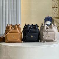 Luxurys Designers Saco Preto M57687 Bolsa Carteira Envelhecido Gold-Color Hardware Duffle Bag Lock Bloqueio Bolsas De Couro De Couro Bucket Saco