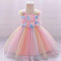 Lush Christmas Dresses for Baby Girls Princess Dress Colorful Rainbow Tutu Dress Toddler Girl Infant Baptism Baby Girl Clothing 1027