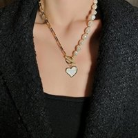 Designer love pendant necklace light luxury niche imitation pearl net red long sweater chain anti-fading trend