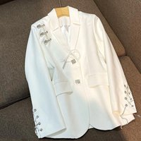 Women's Jackets Autumn Runway Designer Chic Long Sleeve Tassels Blazers Women Casual Clothing White Blazer Vintage Coat SL387