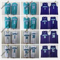 Männer Jugend Retro Jersey 1 Muggsy Bogues 2 Larry Johnson 30 Dell Curry 33 Alonzo Trauer 1992-93 Mitchell Ness Basketball Jersey Hemden