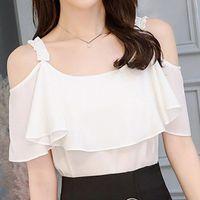 Women's Blouses & Shirts Women Korean Summer Fashion O-neck Short Sleeve Shirt Casual Chiffon Blouse Top White Chemisier Femme Nouvelle Coll