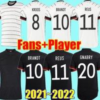 Alemanha Soccer Jersey 2020 2021 Ventiladores Versão Jogador Hummels Kroos Gnabry Werner Draxler Reus Muller Gotze Copa Europeia Camisa de Futebol Uniformes Homens + Kids Kit