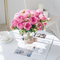 محاكاة الأبيض الزهور الاصطناعية الحرير الفاوانيا الزفاف المزهريات ديكور العروس باقة رغوة الملحقات الحرفية هدايا diy وهمية زهرة T500513