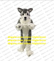 Gray Long Fur Furry Wolf Husky Dog Fursuit Mascot Costume Adult Cartoon Character Outfit Nursery School Holiday Gifts zz8009