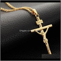 Halsketten Kreuz Jesus Kreuzigung Anhänger Halskette Für Frauen Männer 18 Karat Gold Platinuze Überzogene Modeschmuck 160803 QLSCI 2YFQF