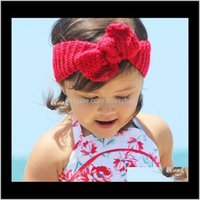 Headbands Jewelry Jewelry32 Color Born Knit Crochet Bowknot Elastic Turban Headband Baby Kids Headwrap Headwear Adult Chid Hair Aessories T32