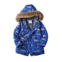 Niños Outerwear Winter Boys Girls Jacket Chaqueta Dibujos Animados Dinosaurios Disfraces Cálidos Niños Capa Con Capucha Bebé Babys Ropa 4-13Y