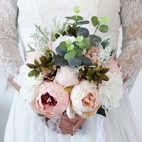 European Style Bouquet Wedding Flowers Bridal Bouquets with Lace Ribbon