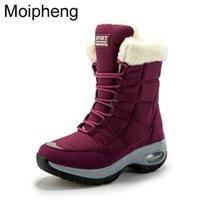 Moiipheng женские ботинки зима храните теплое качество средние теленки снежные дамы на шнуровке Удобные водонепроницаемые пинетки chaussures femme 211021