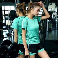여성 T 셔츠 패션 디자이너 대형 스포츠 탄성 빠른 건조 피트니스 짧은 소매 요가 재킷 티셔츠 폴로스 일치 레깅스 및 드레스