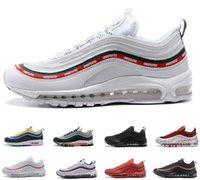 Hot Novo 97 OG QS Tripel Branco Preto Metálico Ouro Prata Bullet Prm Branco 3M Premium Mens Sapatos Ao Ar Livre Homens Mulheres Mulheres Sapatos 36 -45