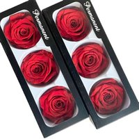 Floriddle Inmortality Rose Head Cabeza Real Flores Preservadas Flores Valentín Decoración en Caja Diámetro 6-7cm S 210911
