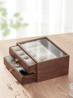 Cajas de almacenamiento contenedores de madera transparente maquillaje organizador joyero a prueba de polvo escritorio de escritorio gran vanidad organizadores caja 50Hz