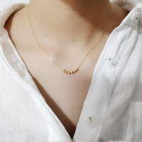 Semplici perline Collana Donna 100% 925 Argento sterling in argento NACKLACE GIOIELLI CLAVICLE CHARMS CAINT A Catena pendente per le donne regalo catene