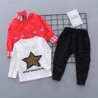 Kinder Baumwollkleidung Baby Jungen gedruckt T-shirts Mantelhose 3pcs / Sets Infant Kinder Mode Kleinkind Trainingsanzüge LJ200831 162 Z2
