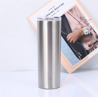 20oz Skinny Tumblers Silver Color Stainless Steel Cup Double Insulated Water Bottle Slim Vacuum Flask Coffee Mugs with Straw A11