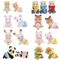 Sylvanian Families Baby Twins Toy Figures Animal Furry Dollhouse Set Pig Monkey Rabbit Squirrels Panda Chiffon New H1011
